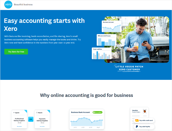 xero landing pages maintains consistent message