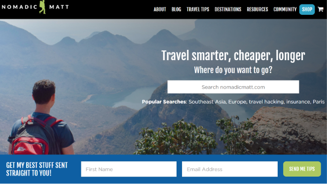 nomadic matt traveling on a budget blog