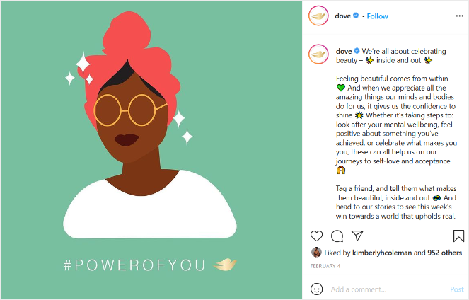social media brand voice and personality example from Dove