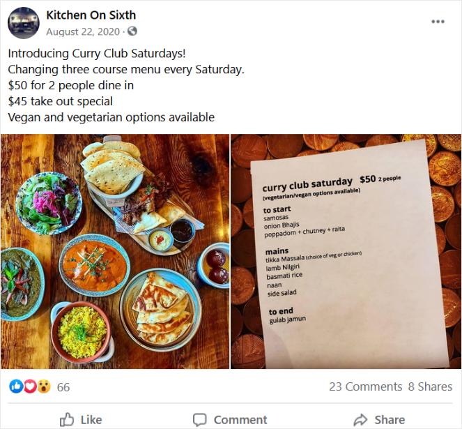 facebook post from restaurant