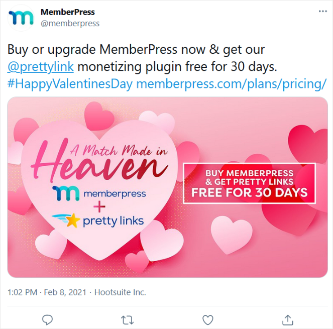 tweet about promotion from memberpress
