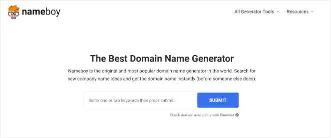 use nameboy to come up with a domain name