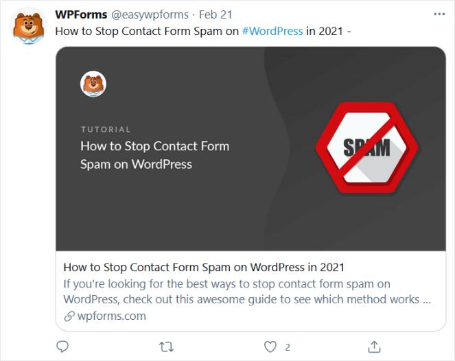 blog post tweet from WPForms