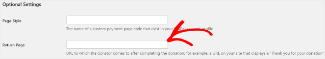 Add a url to the return page