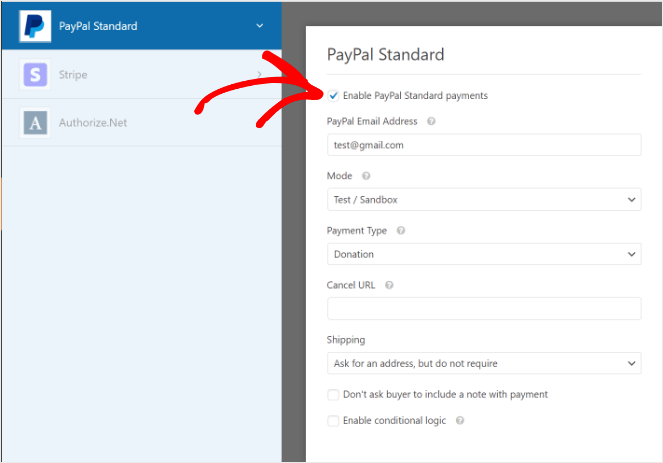 enable PayPal standard payments