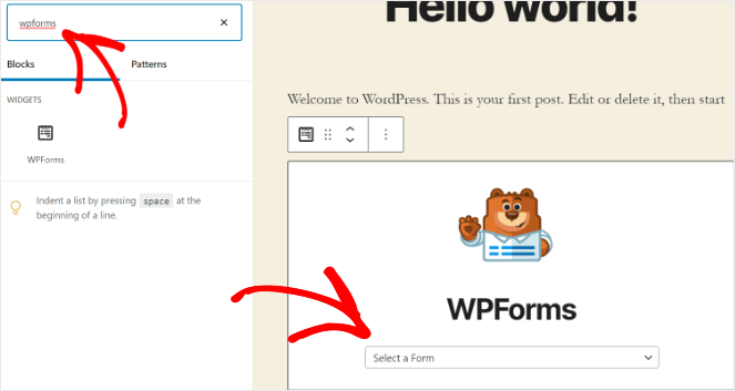 add the donation form in WordPress
