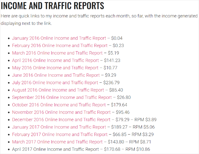 Income reports for blogs