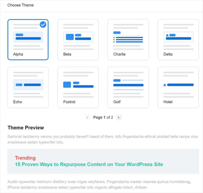 monsterinsights popular post feature layout options