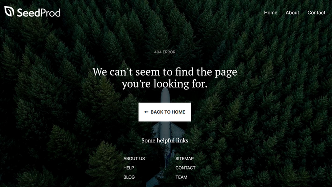 404 error page created with landing page builder
