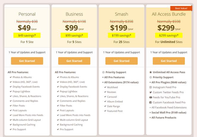 smash balloon pricing plans