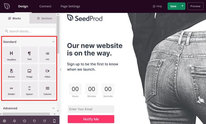 standard landing page blocks from seedprod