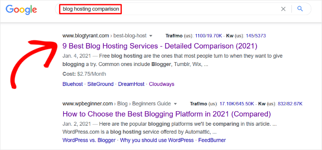 ranking for multiple keyword example