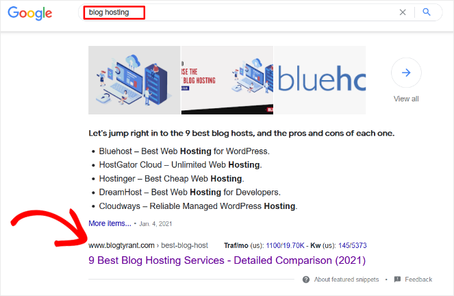 ranking for multiple keywords example