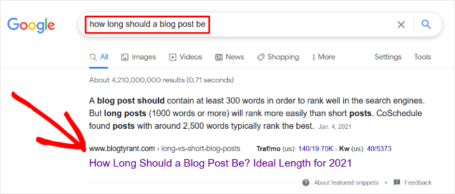 search engine results for keyword