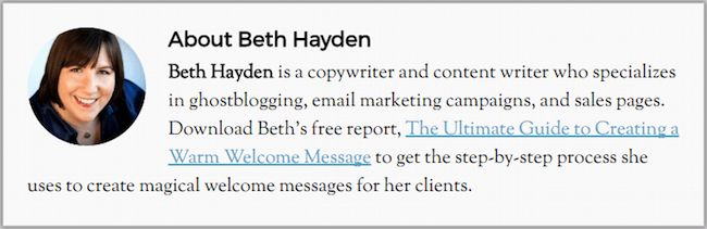 author byline with link to lead magnet