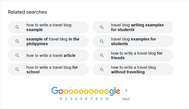 use google related searches to find long tail keywords
