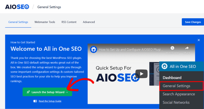 launch the setup wizard for all in one seo