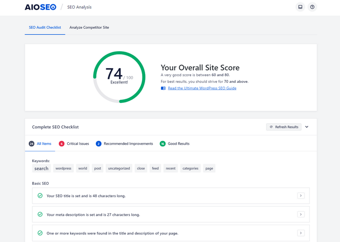 seo audit checklist from all in one seo