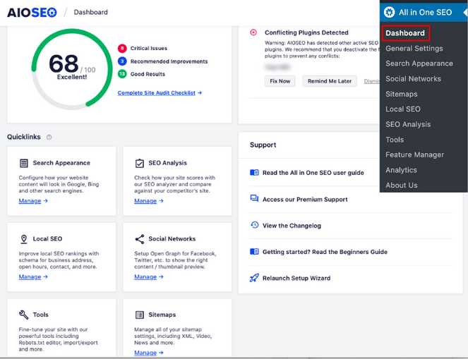 manage seo from the all in one seo dashboard in wordpress