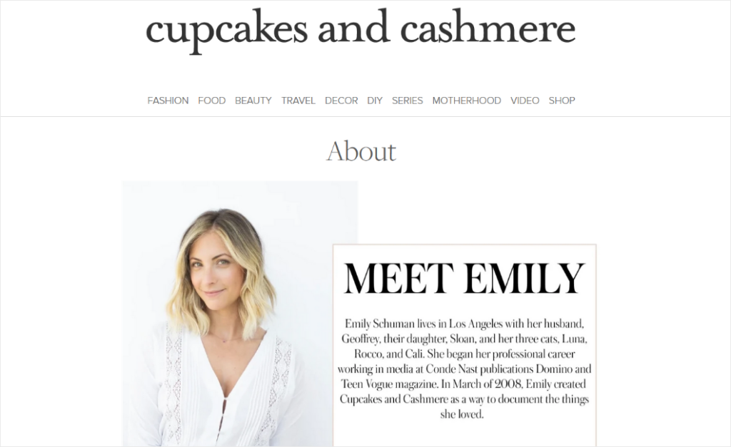 best about us pages from cupcakes and cashmere