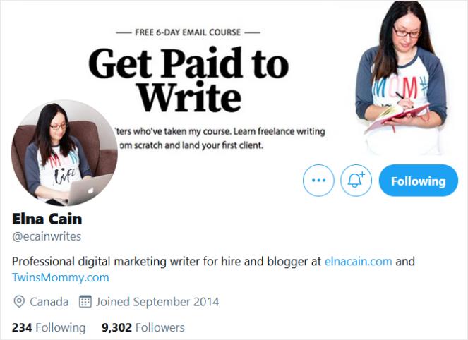 elna cain freelance twitter bio example
