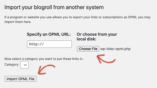 Import OPML file