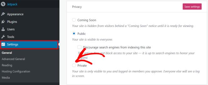 Set your WordPress.com to private