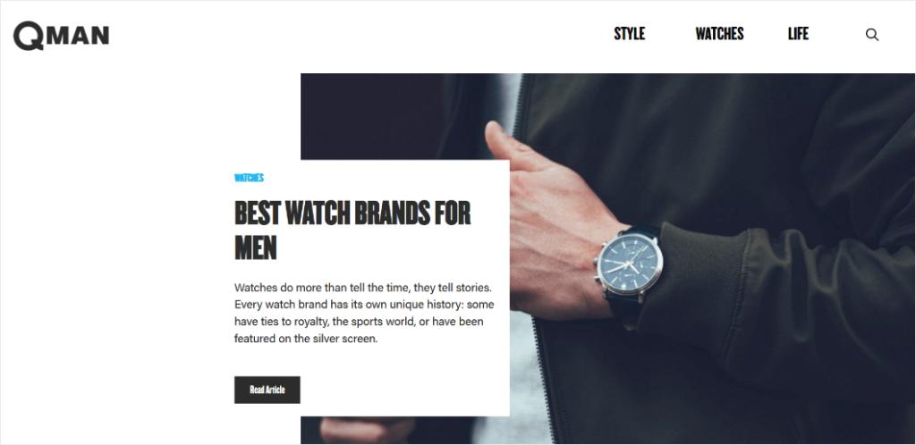 qman blog design example