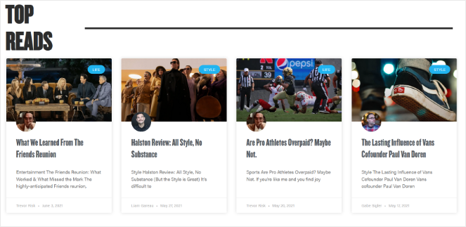 top reads blog section