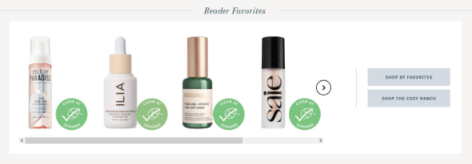 display affiliate products in a reader favorites section