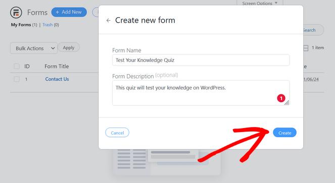 nommez votre formulaire de quiz et cliquez sur le bouton créer