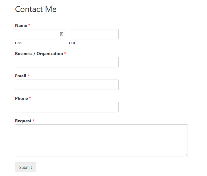 simple contact form for a freelance website