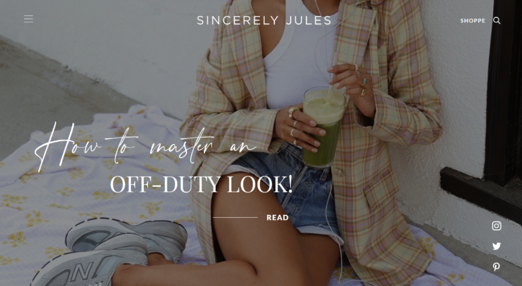 sincerely jules blog header example