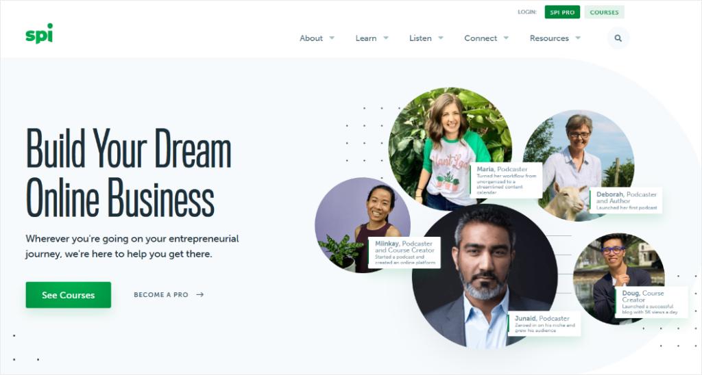 testimonials and customer photos in the website header