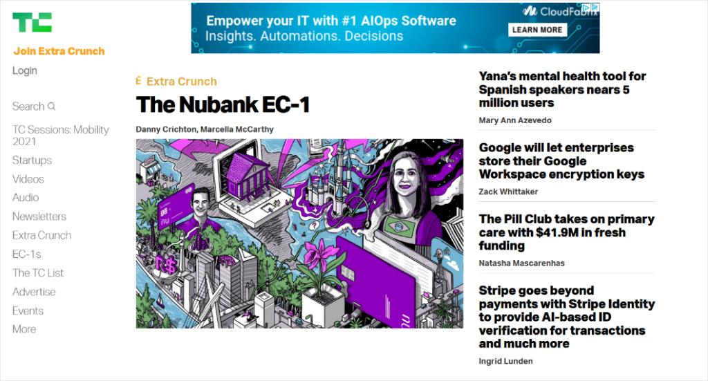 blog post layout on techcrunch