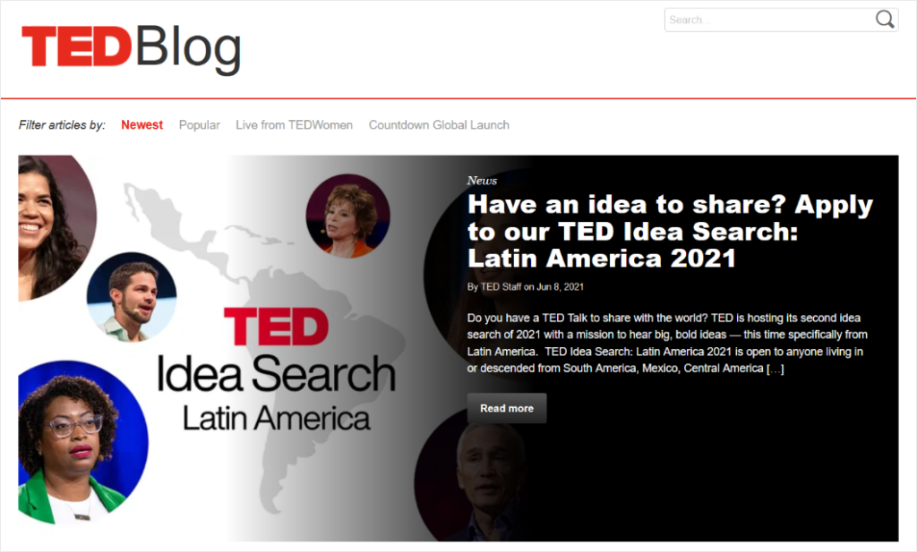 TED blog layout