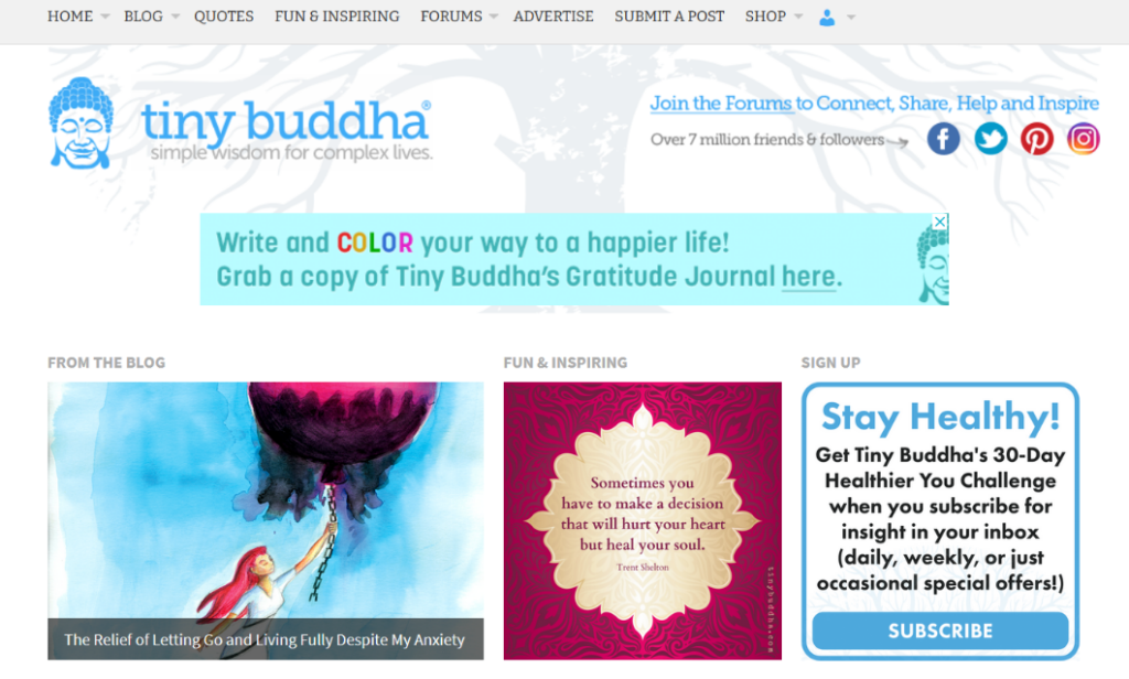 tiny buddha blog layout and design