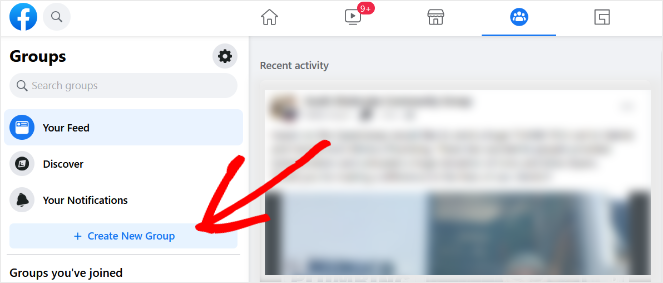 click on the create new group button in facebook