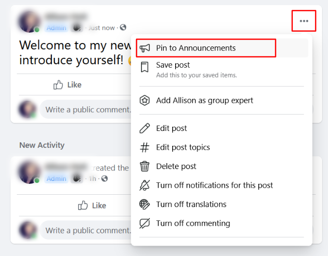 pin your welcome post to the announcements