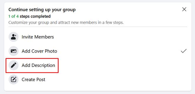 click on the add description button