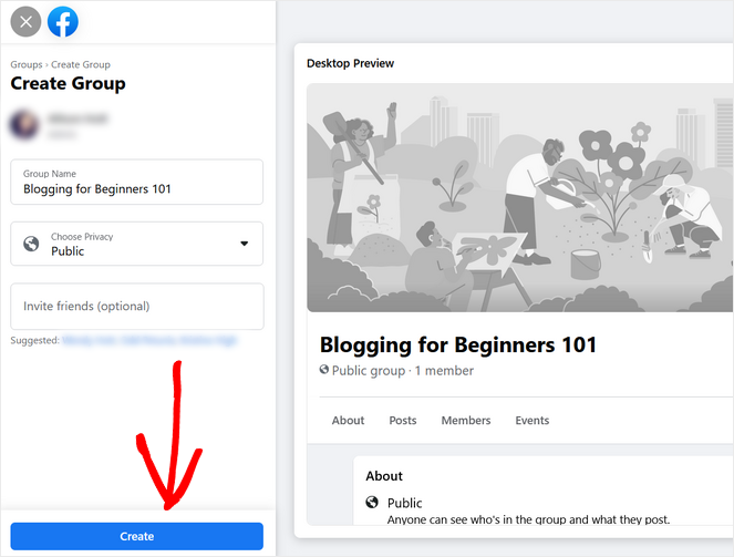 click the create button to make your facebook group