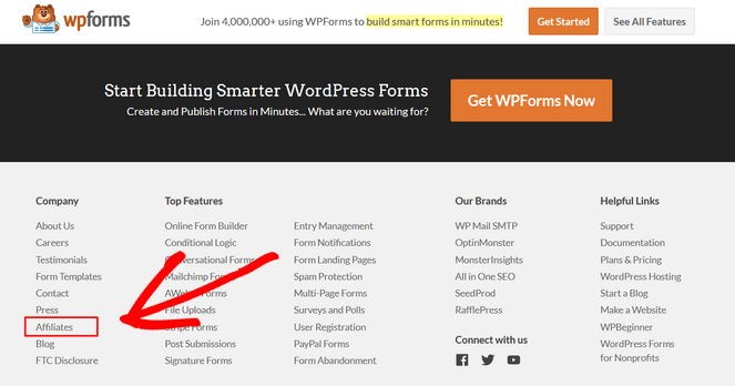 how to find out if a product has an affiliate program footer section of website