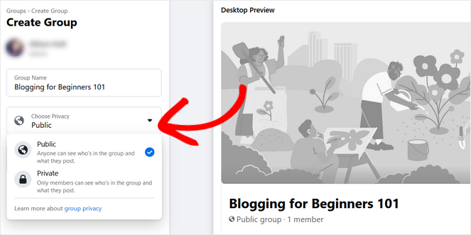 choose the privacy of your facebook group public or private