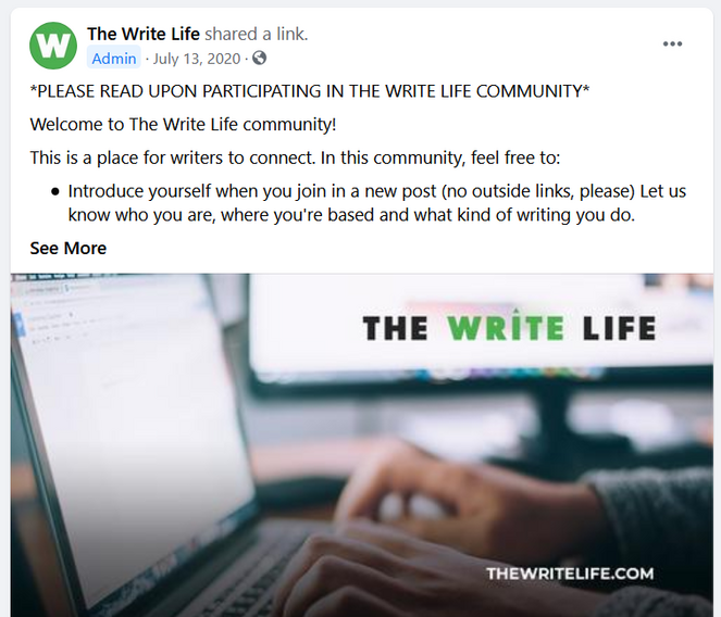the write life welcome post example