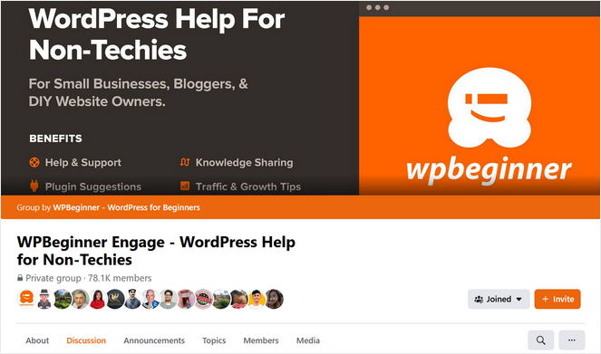 example of a Facebook group by WPBeginner