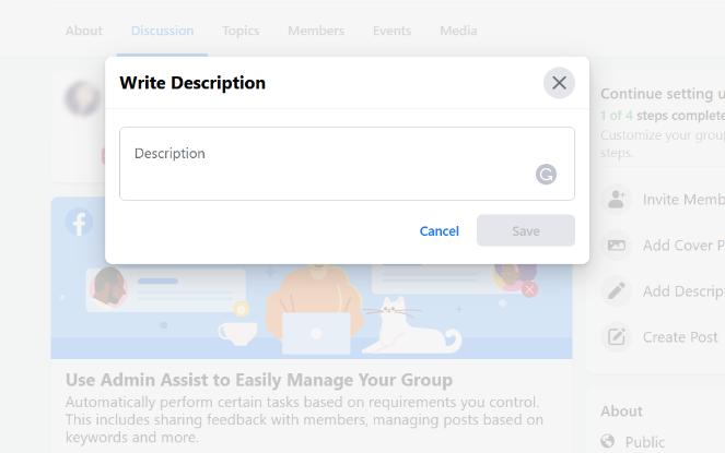 write the description for your facebook group