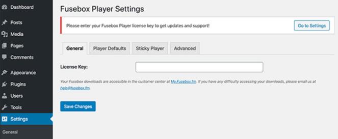 enter fusebox license key in settings