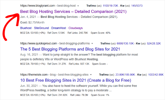 good headlines will get more clicks in search engine results