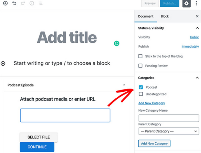 add podcast category in wordpress