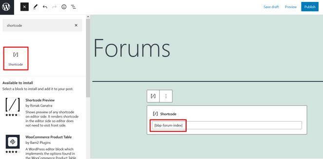 coller le shortcode sur la nouvelle page